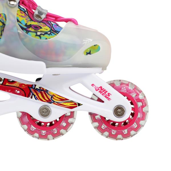 NJ2016 A PINK-GREEN SIZE S IN-LINE SKATES NILS EX..
