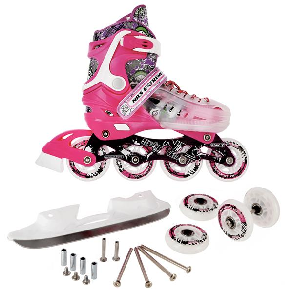 NH18122 4in1 PINK SIZE M(34-38) INLINE/ICE-SKATES..
