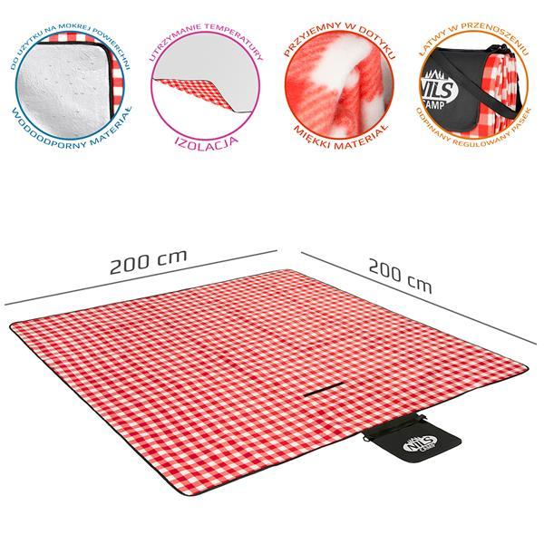 NC2311 PICNIC MAT WHITE-RED 200x200 CM PE + ALU N..