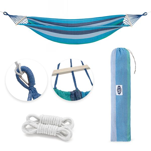 NC9004 BLUE- DARK BLUE HAMMOCK WITH 70CM WOODEN BEAM AND METAL HOLDER NILS CAMP