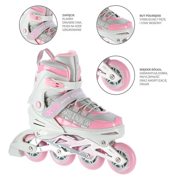 NA1186 PINK SIZE S (31-34) IN-LINE SKATES NILS EXTREME